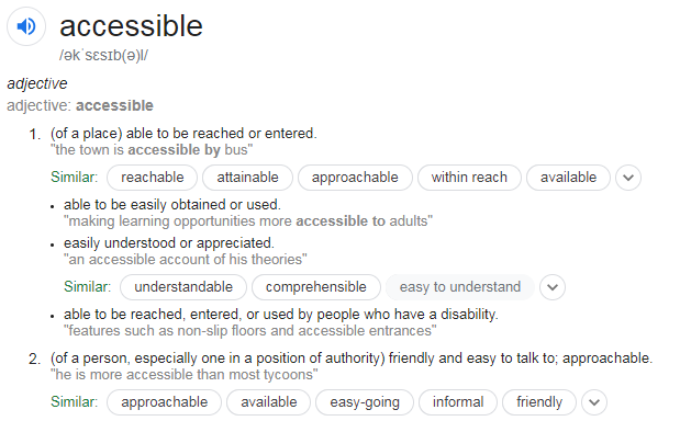 Image showing the dictionary definitions of the word accessible.