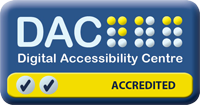 DAC logo with two ticks indicating AA certification